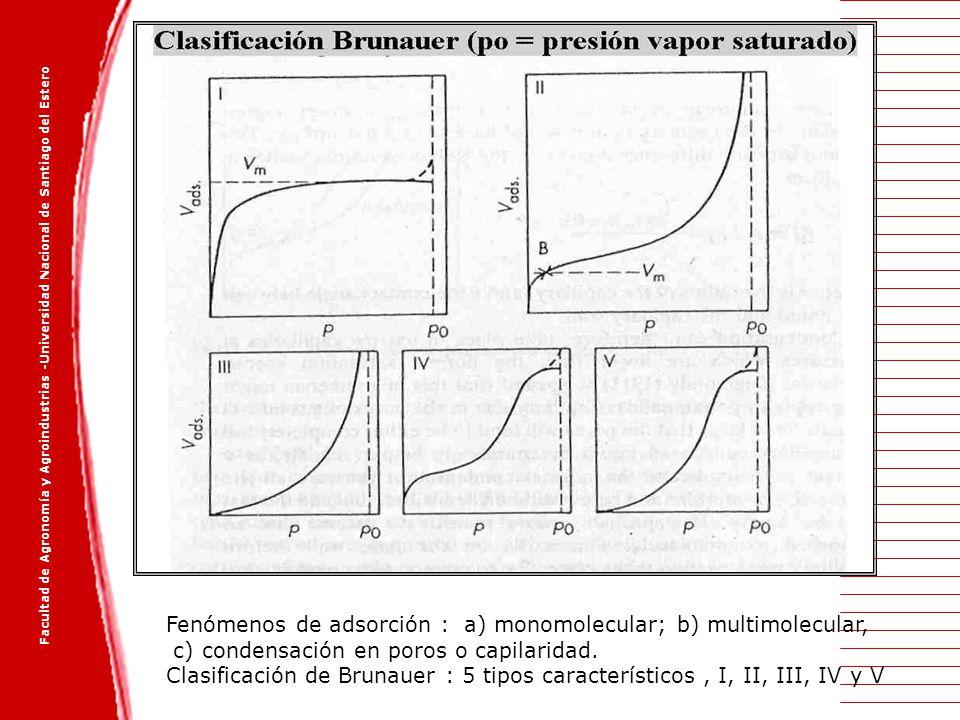 Facultad de Agronomía y Agroindustrias -Universidad Nacional de Santiago del Estero Fenómenos de adsorción : a) monomolecular; b) multimolecular, c) c