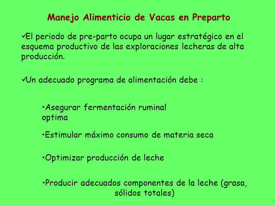 El periodo de pre-parto ocupa un lugar estratégico en el esquema productivo de las exploraciones lecheras de alta producción. Un adecuado programa de