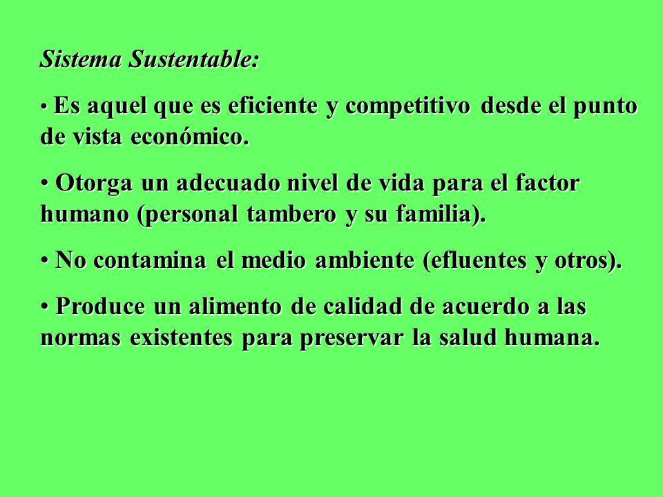 Sistema Sustentable: Es aquel que es eficiente y competitivo desde el punto de vista económico. Es aquel que es eficiente y competitivo desde el punto