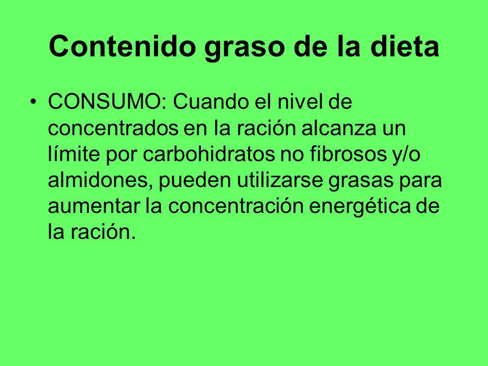 Contenido graso de la dieta CONSUMO: Cuando el nivel de concentrados en la ración alcanza un límite por carbohidratos no fibrosos y/o almidones, puede