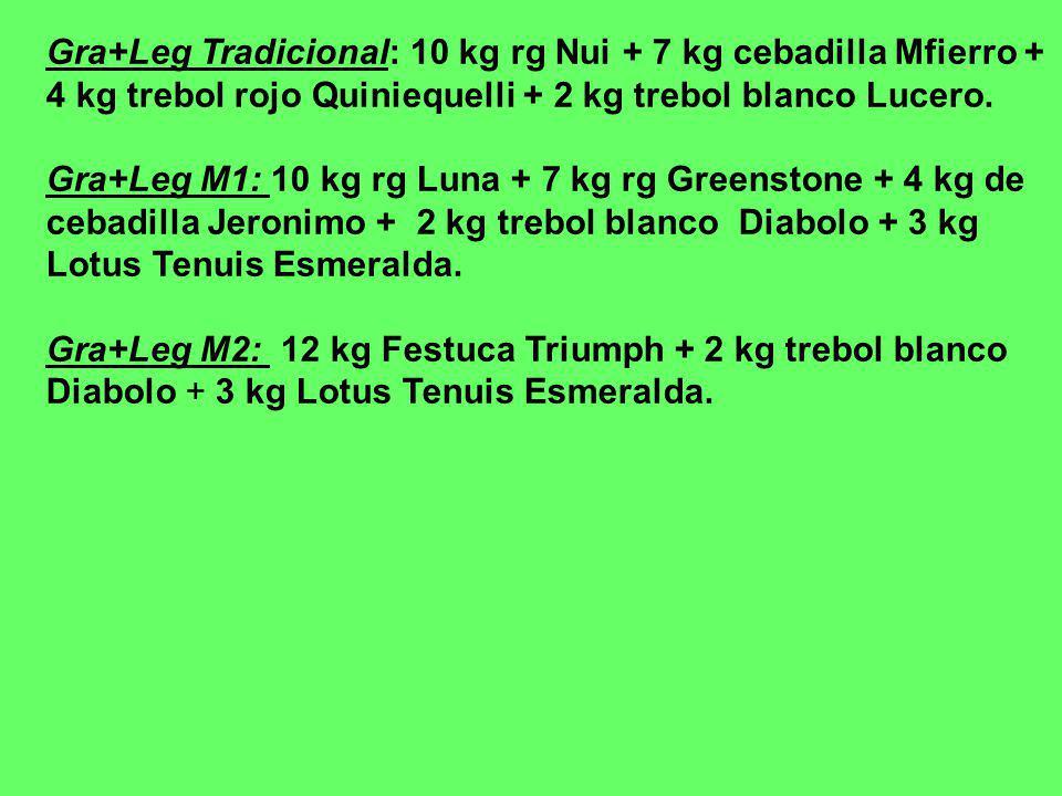 Gra+Leg Tradicional: 10 kg rg Nui + 7 kg cebadilla Mfierro + 4 kg trebol rojo Quiniequelli + 2 kg trebol blanco Lucero. Gra+Leg M1: 10 kg rg Luna + 7