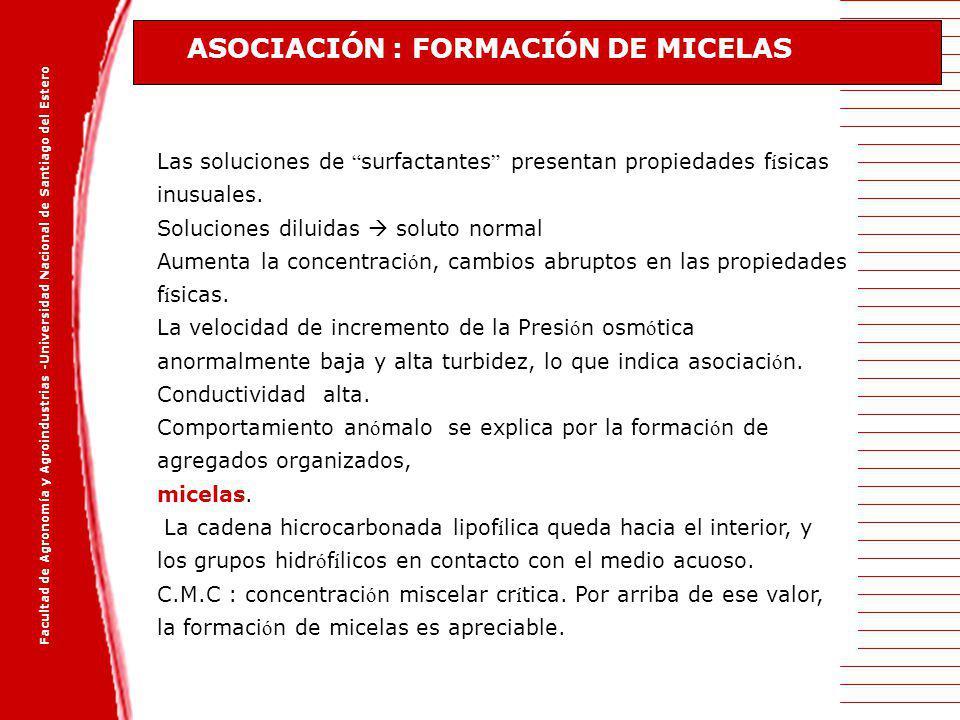 Facultad de Agronomía y Agroindustrias -Universidad Nacional de Santiago del Estero Las soluciones de surfactantes presentan propiedades f í sicas inu
