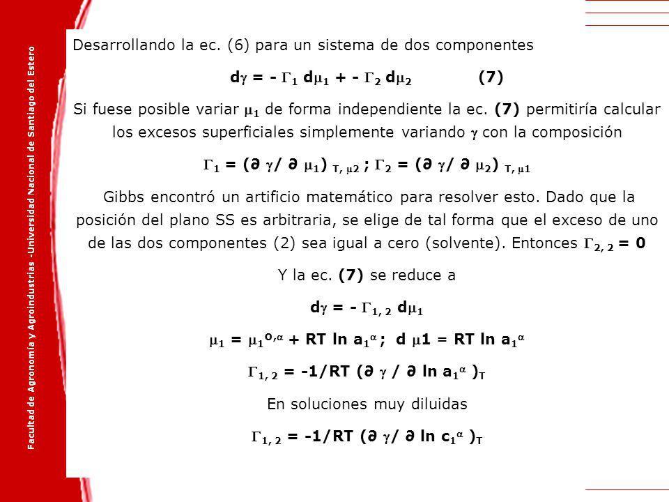 Facultad de Agronomía y Agroindustrias -Universidad Nacional de Santiago del Estero Desarrollando la ec. (6) para un sistema de dos componentes d = -