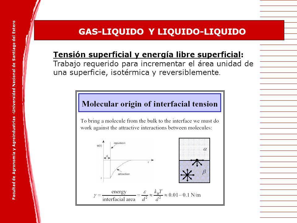 Facultad de Agronomía y Agroindustrias -Universidad Nacional de Santiago del Estero GAS-LIQUIDO Y LIQUIDO-LIQUIDO Tensión superficial y energía libre