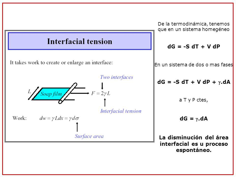 De la termodinámica, tenemos que en un sistema homegéneo dG = -S dT + V dP En un sistema de dos o mas fases dG = -S dT + V dP +.dA a T y P ctes, dG =.