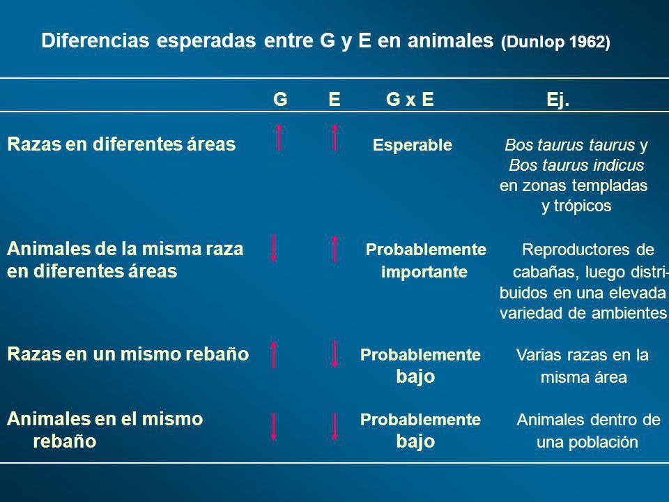 Diferencias esperadas entre G y E en animales (Dunlop 1962) G E G x E Ej. Razas en diferentes áreas Esperable Bos taurus taurus y Bos taurus indicus e