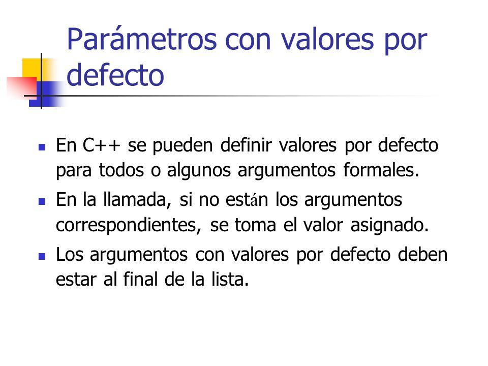 Parámetros con valores por defecto En C++ se pueden definir valores por defecto para todos o algunos argumentos formales. En la llamada, si no est á n