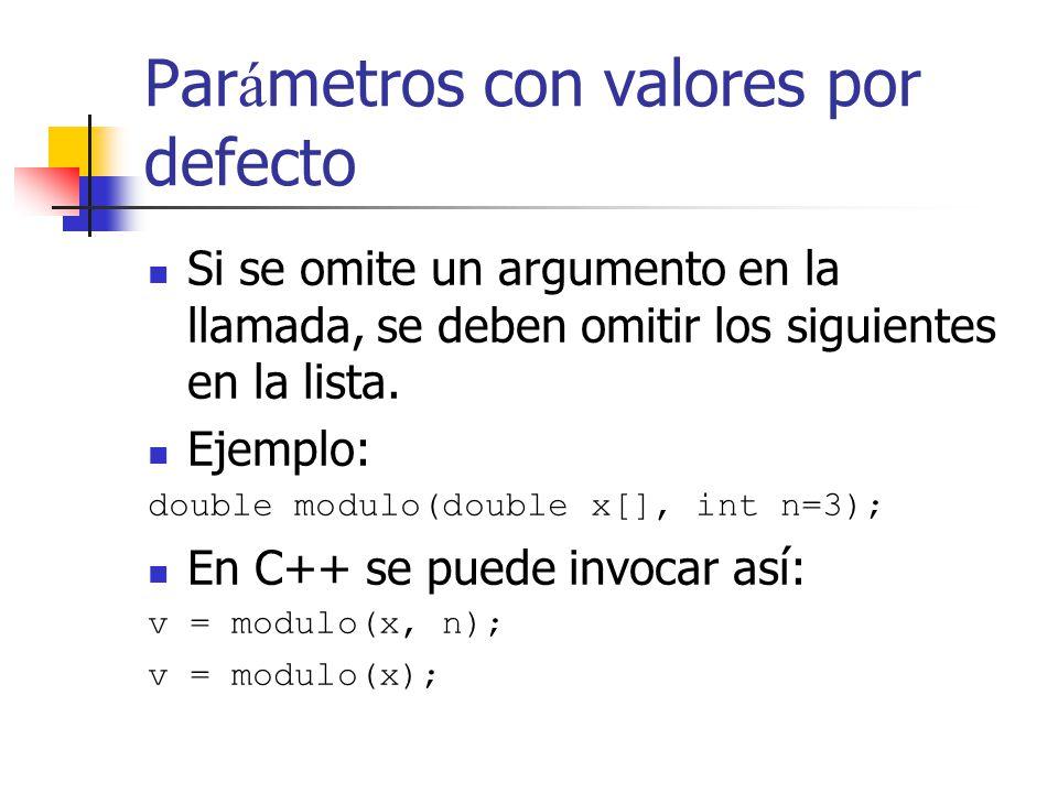 Par á metros con valores por defecto Si se omite un argumento en la llamada, se deben omitir los siguientes en la lista. Ejemplo: double modulo(double