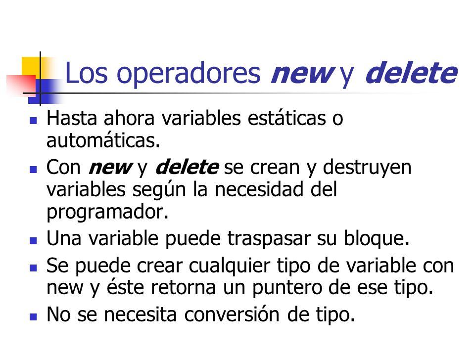 Los operadores new y delete Hasta ahora variables estáticas o automáticas. Con new y delete se crean y destruyen variables según la necesidad del prog