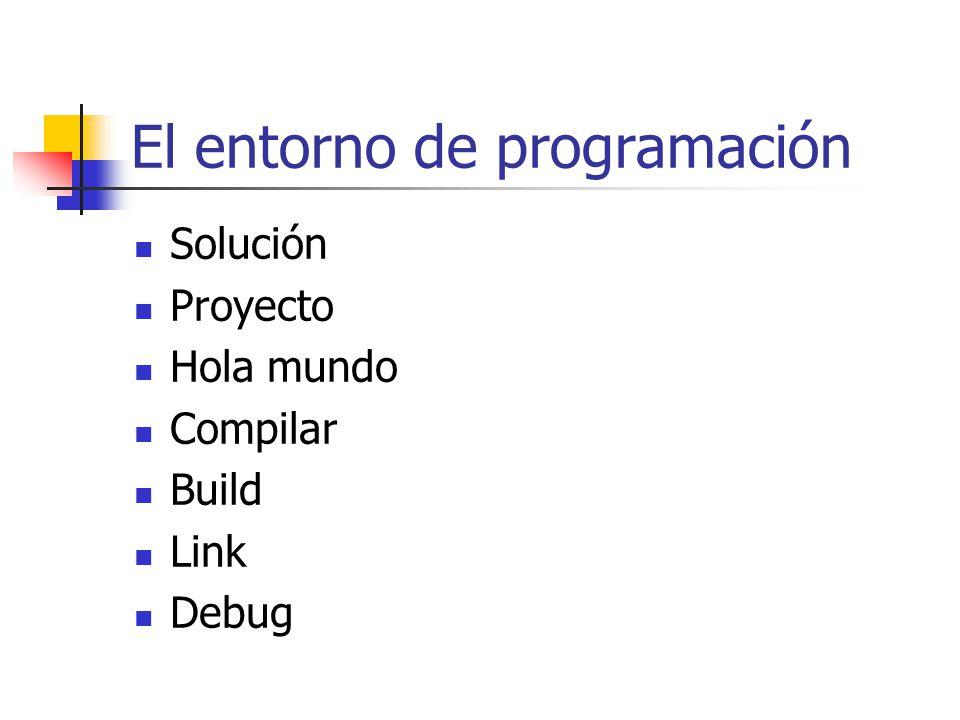 El entorno de programación Solución Proyecto Hola mundo Compilar Build Link Debug