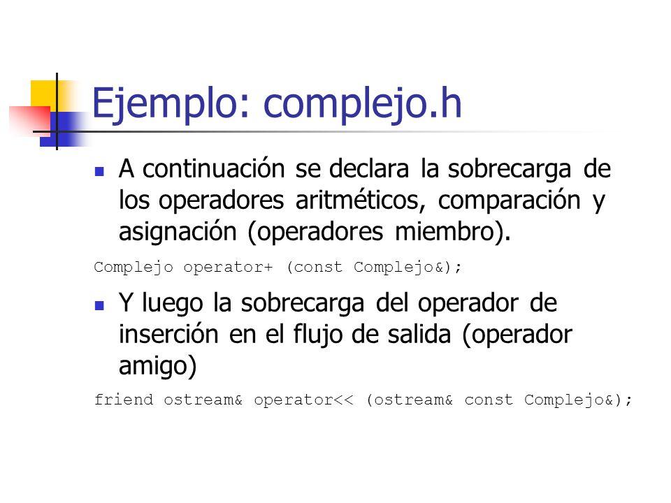 Ejemplo: complejo.h A continuación se declara la sobrecarga de los operadores aritméticos, comparación y asignación (operadores miembro). Complejo ope
