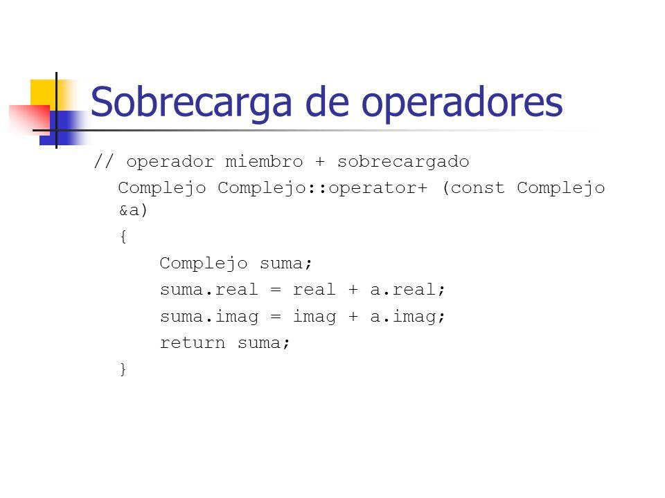 Sobrecarga de operadores // operador miembro + sobrecargado Complejo Complejo::operator+ (const Complejo &a) { Complejo suma; suma.real = real + a.rea