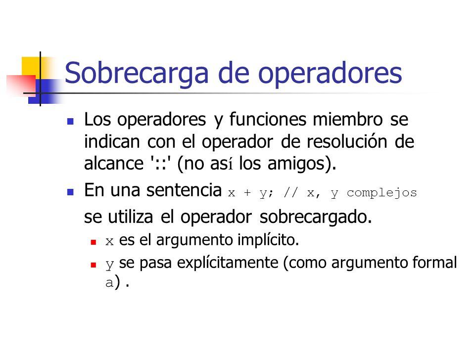 Sobrecarga de operadores Los operadores y funciones miembro se indican con el operador de resolución de alcance '::' (no as í los amigos). En una sent