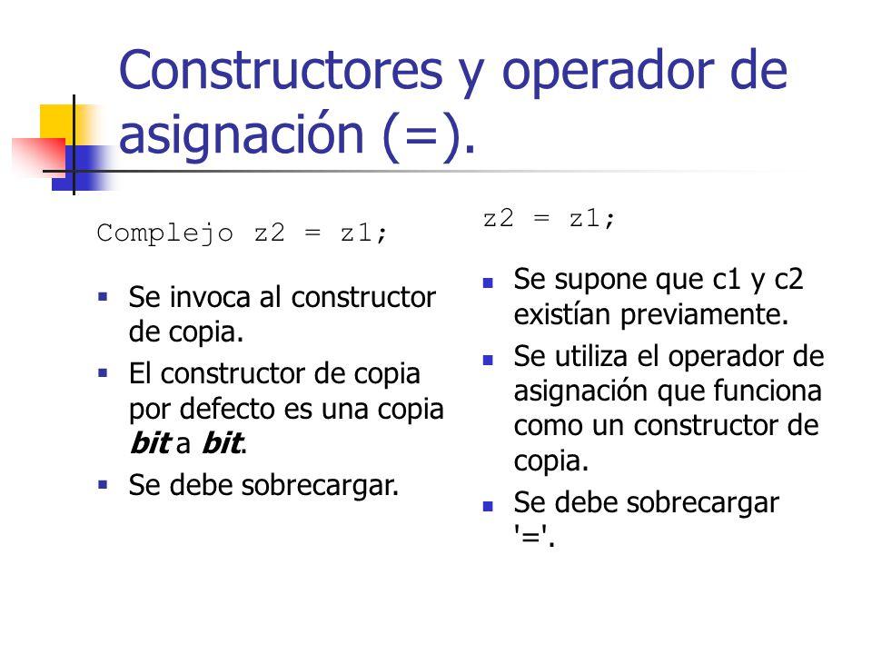 Constructores y operador de asignación (=). z2 = z1; Se supone que c1 y c2 existían previamente. Se utiliza el operador de asignación que funciona com