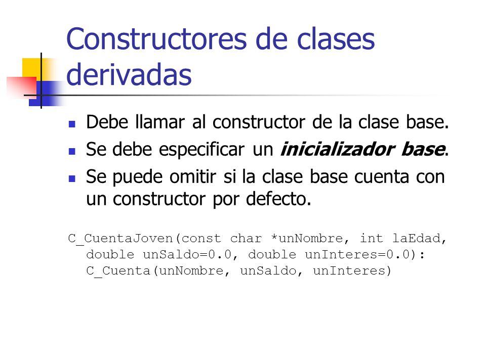 Constructores de clases derivadas Debe llamar al constructor de la clase base. Se debe especificar un inicializador base. Se puede omitir si la clase