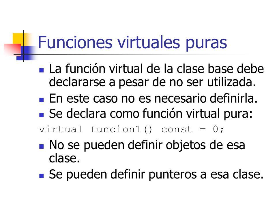 Funciones virtuales puras La función virtual de la clase base debe declararse a pesar de no ser utilizada. En este caso no es necesario definirla. Se