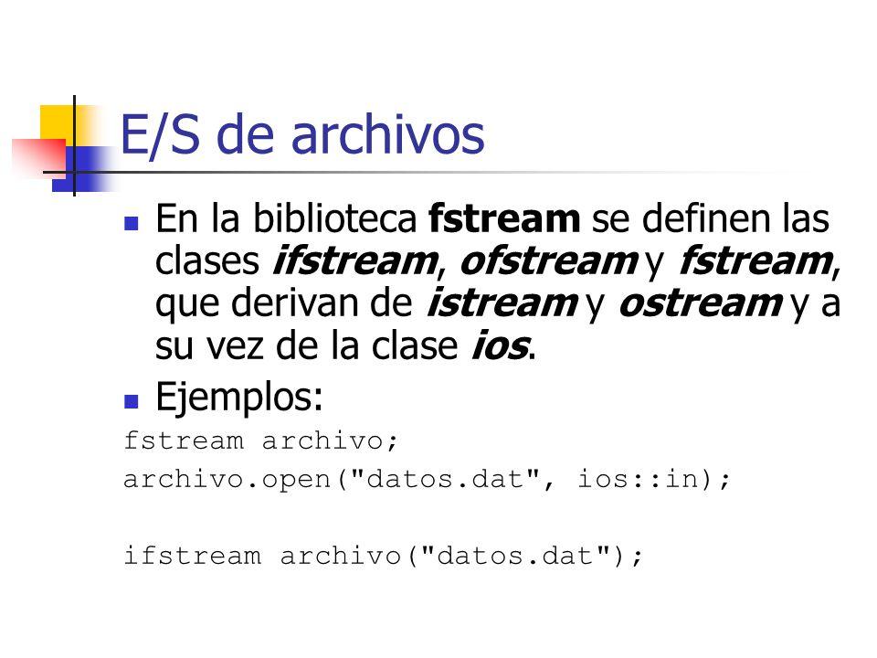 E/S de archivos En la biblioteca fstream se definen las clases ifstream, ofstream y fstream, que derivan de istream y ostream y a su vez de la clase i