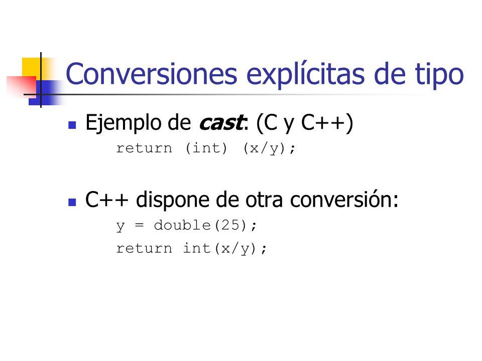 Ejemplo: complejo.h El siguiente grupo de funciones permite dar valor a los campos: void setData(); void setReal(double); O acceder a ellos: double getReal(){return real;} double getImag(){return imag;}