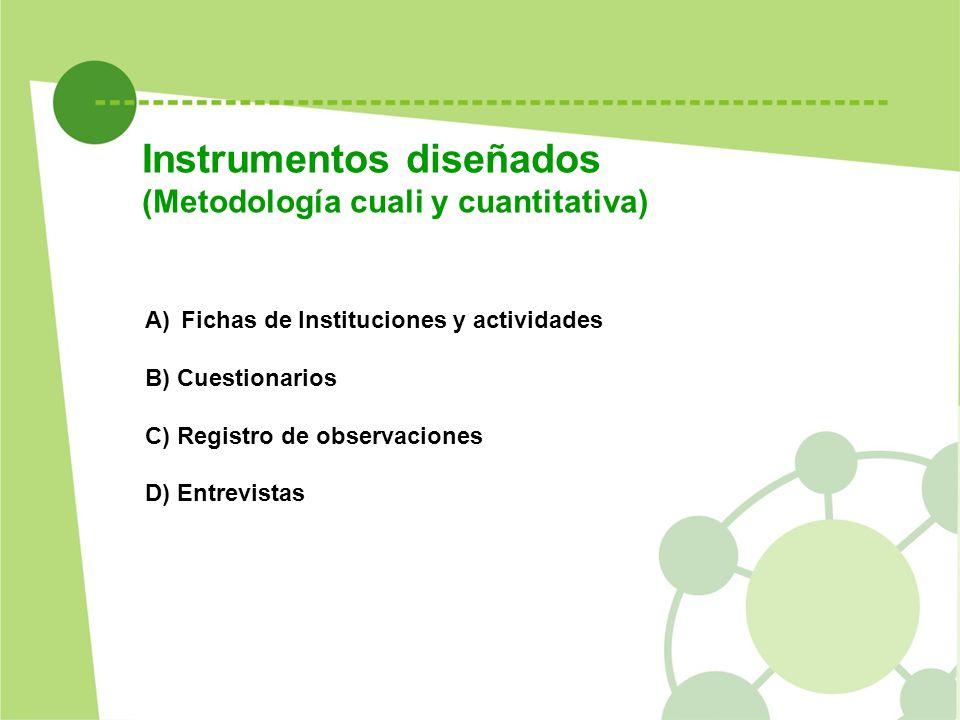 Instrumentos diseñados (Metodología cuali y cuantitativa) A)Fichas de Instituciones y actividades B) Cuestionarios C) Registro de observaciones D) Ent