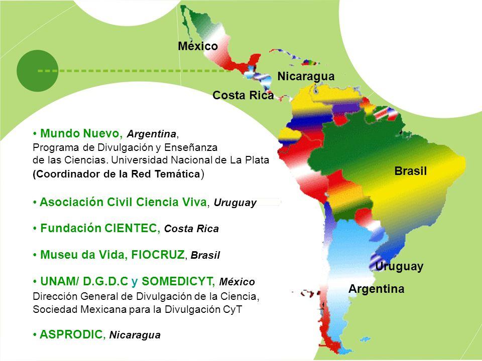 Argentina Uruguay Costa Rica Brasil México Nicaragua Mundo Nuevo, Argentina, Programa de Divulgación y Enseñanza de las Ciencias. Universidad Nacional