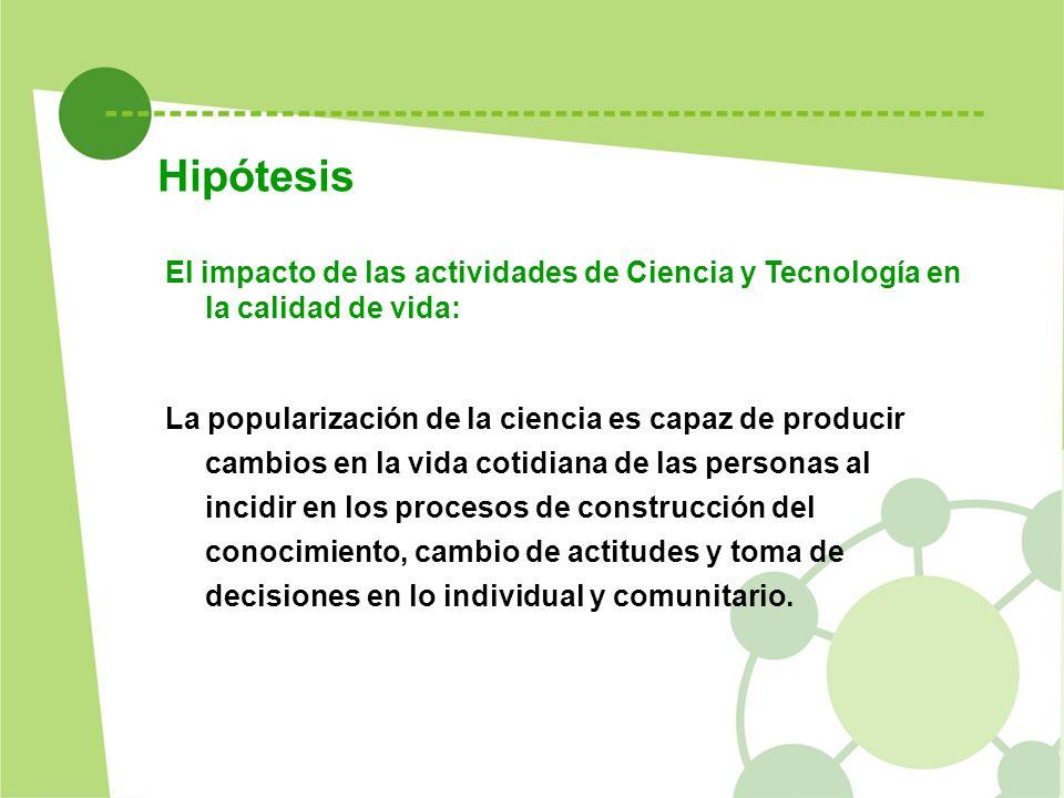 Hipótesis El impacto de las actividades de Ciencia y Tecnología en la calidad de vida: La popularización de la ciencia es capaz de producir cambios en