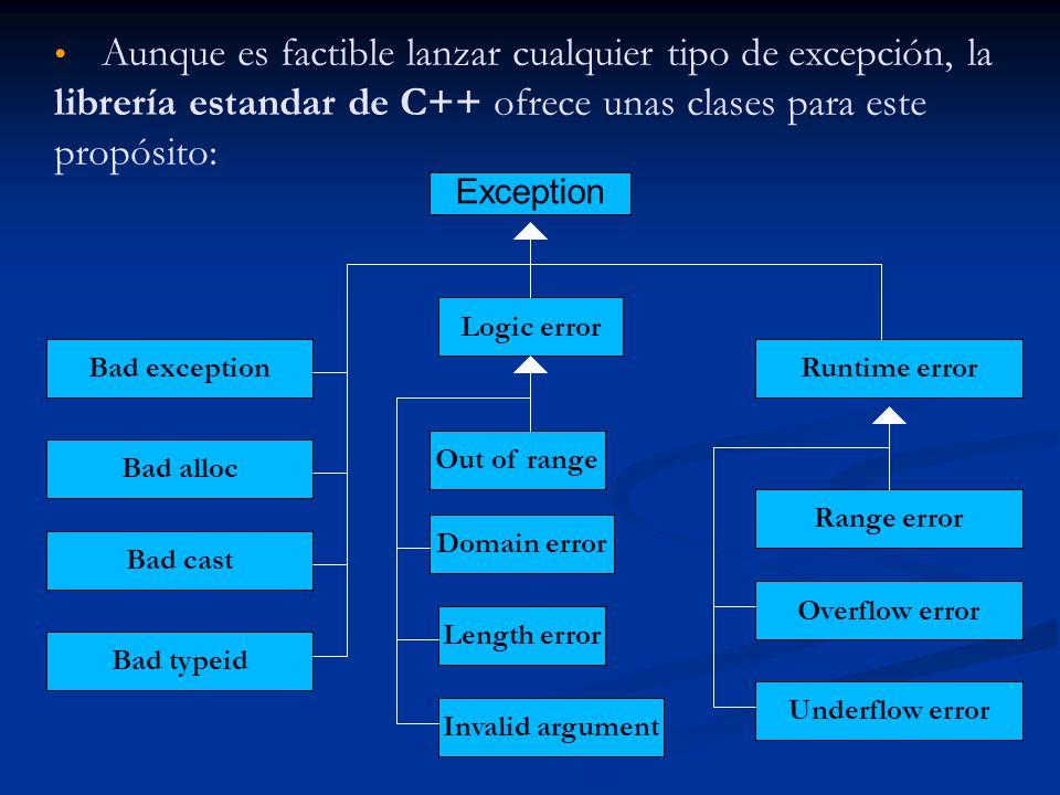 Aunque es factible lanzar cualquier tipo de excepción, la librería estandar de C++ ofrece unas clases para este propósito: Exception Bad exception Bad