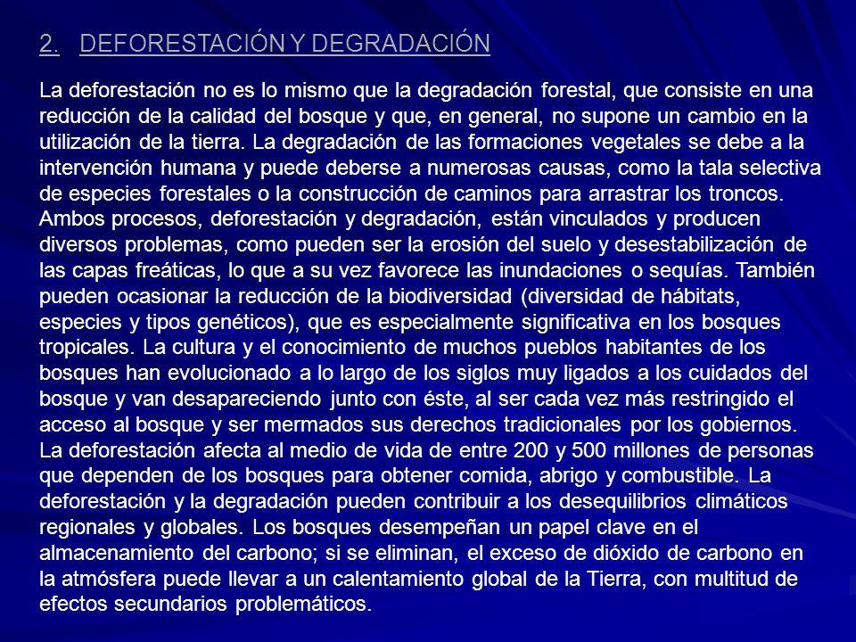 2. DEFORESTACIÓN Y DEGRADACIÓN La deforestación no es lo mismo que la degradación forestal, que consiste en una reducción de la calidad del bosque y q