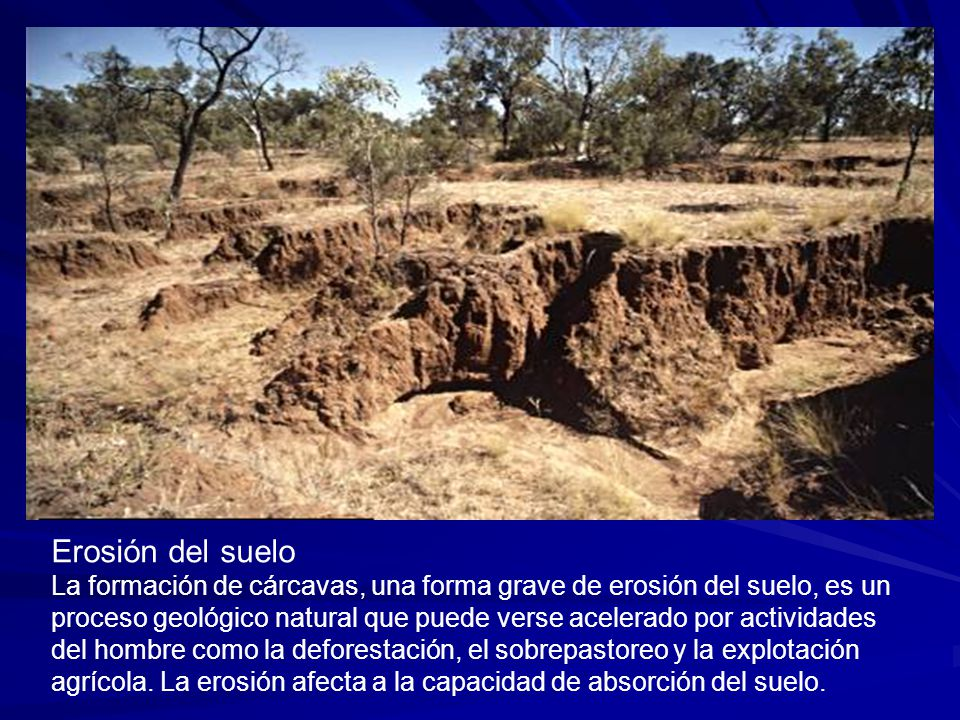 Erosión del suelo La formación de cárcavas, una forma grave de erosión del suelo, es un proceso geológico natural que puede verse acelerado por activi