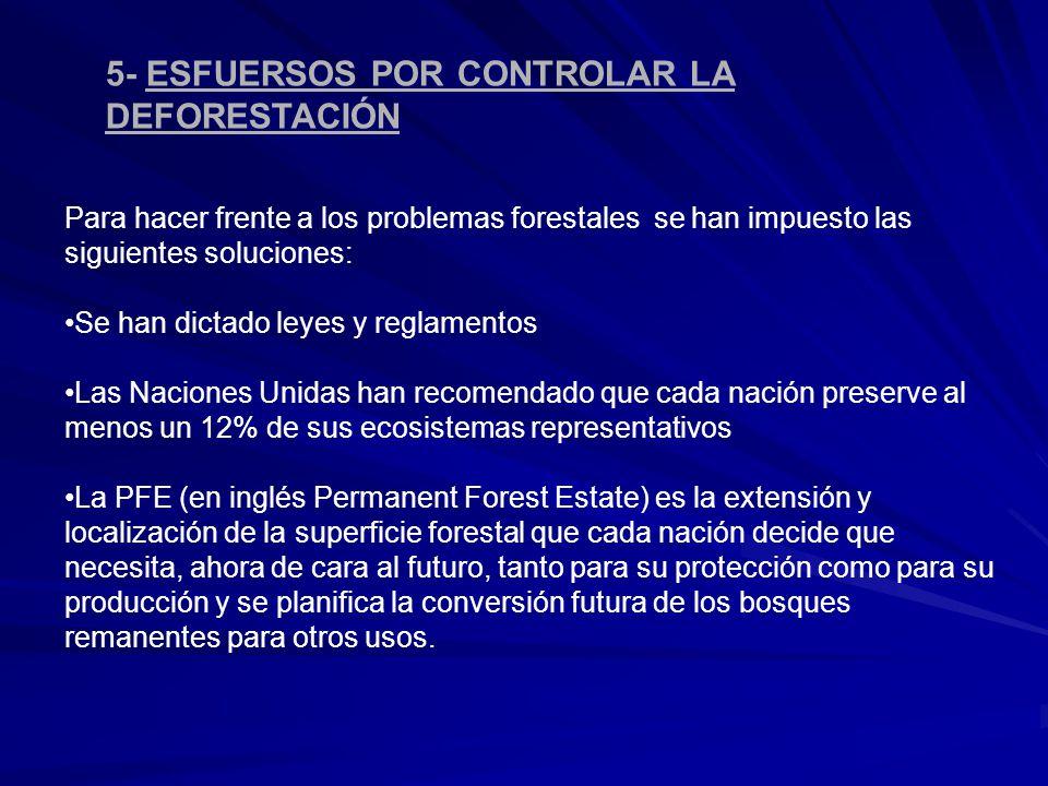 5- ESFUERSOS POR CONTROLAR LA DEFORESTACIÓN Para hacer frente a los problemas forestales se han impuesto las siguientes soluciones: Se han dictado ley