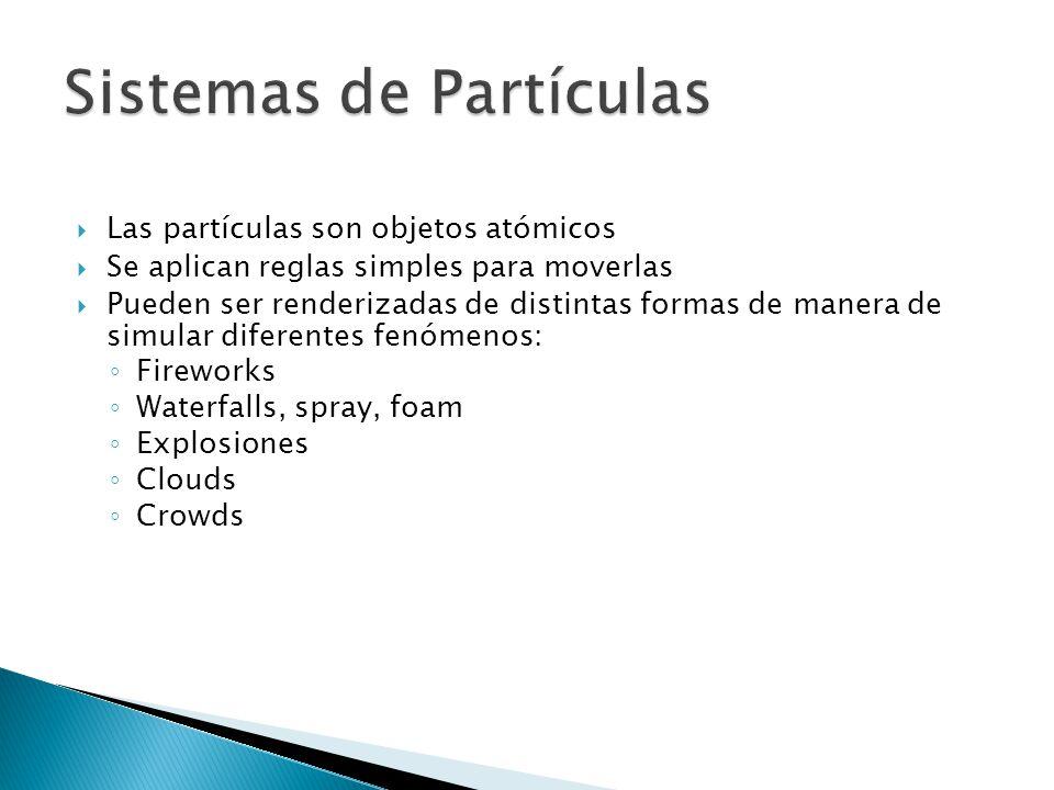 Las partículas son objetos atómicos Se aplican reglas simples para moverlas Pueden ser renderizadas de distintas formas de manera de simular diferentes fenómenos: Fireworks Waterfalls, spray, foam Explosiones Clouds Crowds