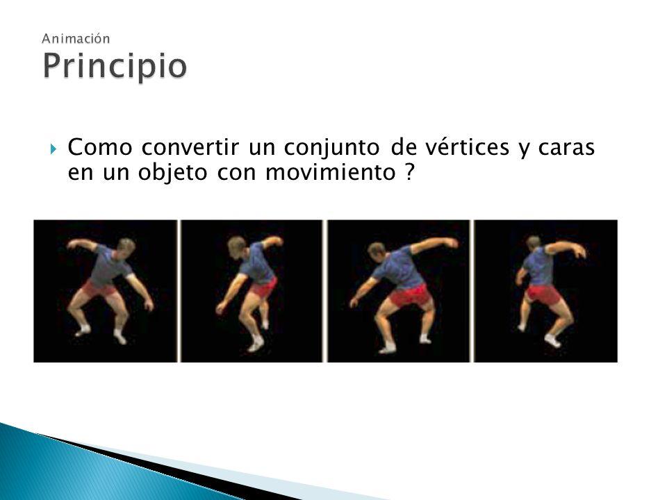 Como convertir un conjunto de vértices y caras en un objeto con movimiento ?