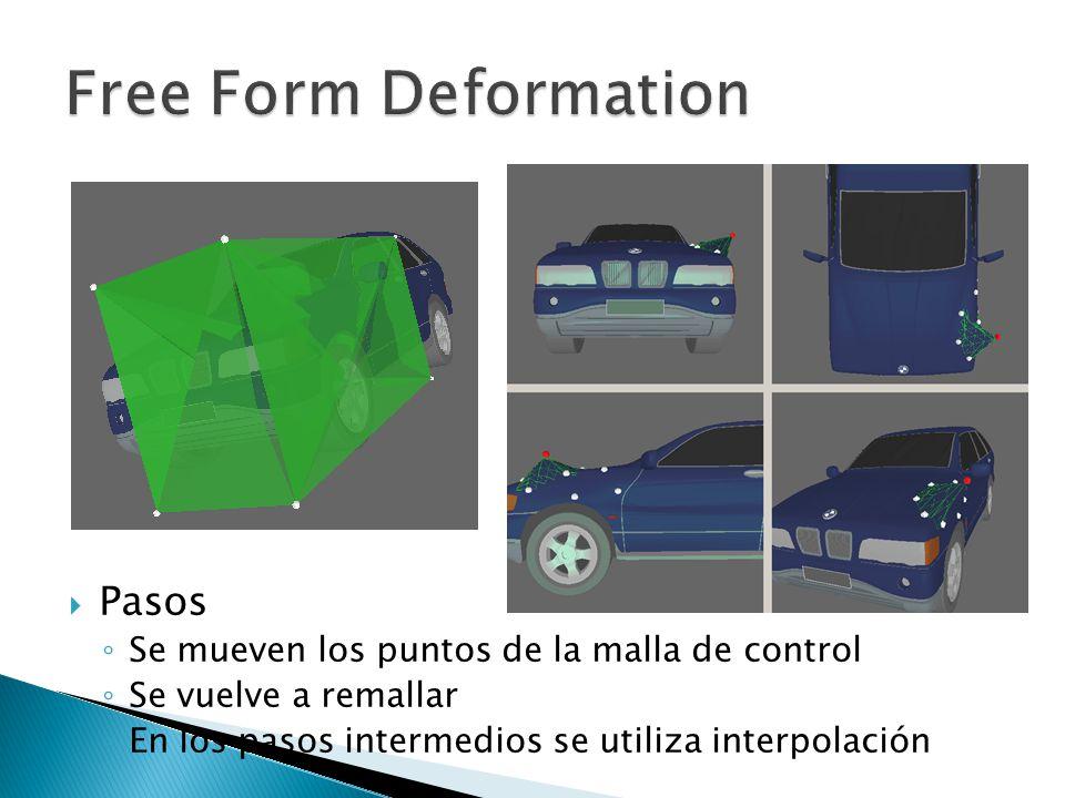 Pasos Se mueven los puntos de la malla de control Se vuelve a remallar En los pasos intermedios se utiliza interpolación