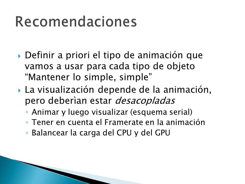Definir a priori el tipo de animación que vamos a usar para cada tipo de objeto Mantener lo simple, simple La visualización depende de la animación, pero deberìan estar desacopladas Animar y luego visualizar (esquema serial) Tener en cuenta el Framerate en la animación Balancear la carga del CPU y del GPU