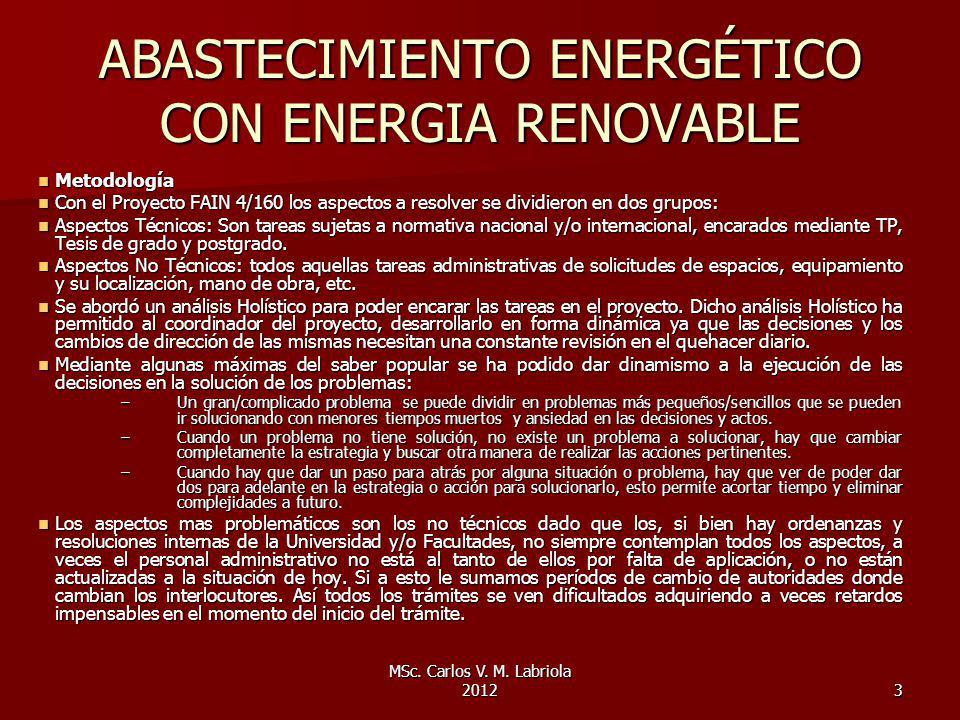 MSc. Carlos V. M. Labriola 20123 ABASTECIMIENTO ENERGÉTICO CON ENERGIA RENOVABLE Metodología Metodología Con el Proyecto FAIN 4/160 los aspectos a res