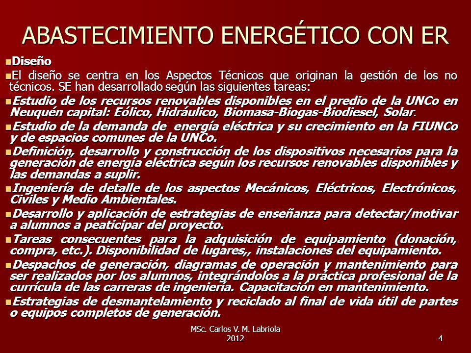 MSc. Carlos V. M. Labriola 20124 ABASTECIMIENTO ENERGÉTICO CON ER Diseño Diseño El diseño se centra en los Aspectos Técnicos que originan la gestión d