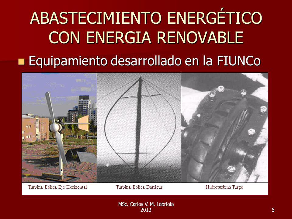 MSc. Carlos V. M. Labriola 20125 ABASTECIMIENTO ENERGÉTICO CON ENERGIA RENOVABLE Equipamiento desarrollado en la FIUNCo Equipamiento desarrollado en l