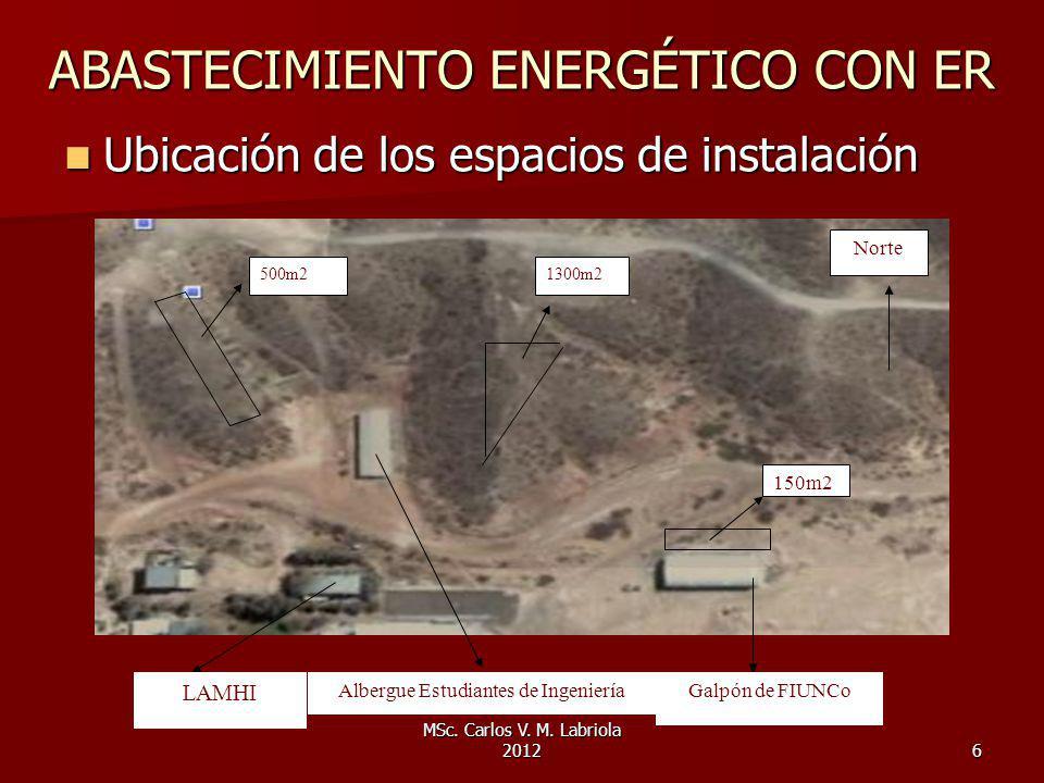 MSc. Carlos V. M. Labriola 20126 ABASTECIMIENTO ENERGÉTICO CON ER Ubicación de los espacios de instalación Ubicación de los espacios de instalación Al