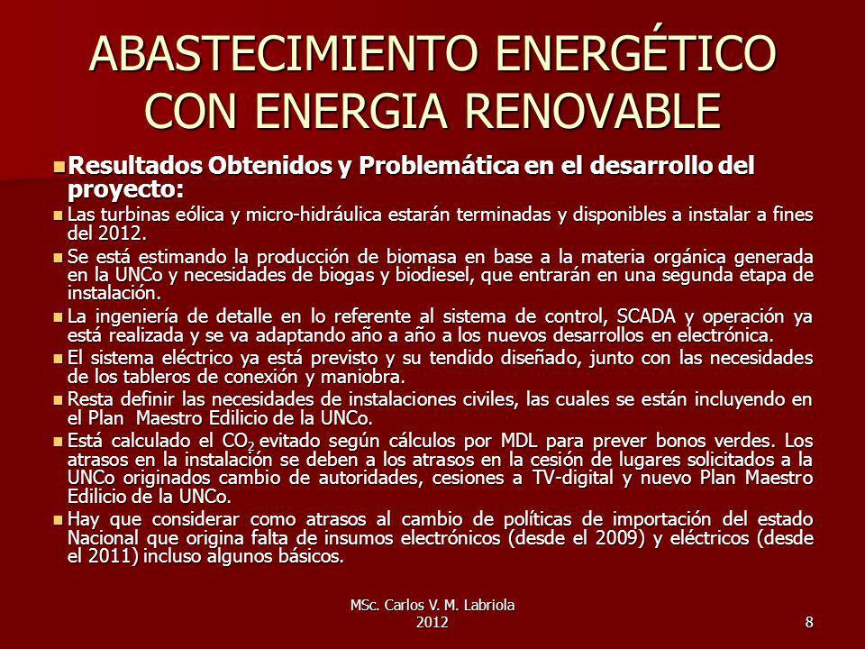 MSc. Carlos V. M. Labriola 20128 ABASTECIMIENTO ENERGÉTICO CON ENERGIA RENOVABLE Resultados Obtenidos y Problemática en el desarrollo del proyecto: Re