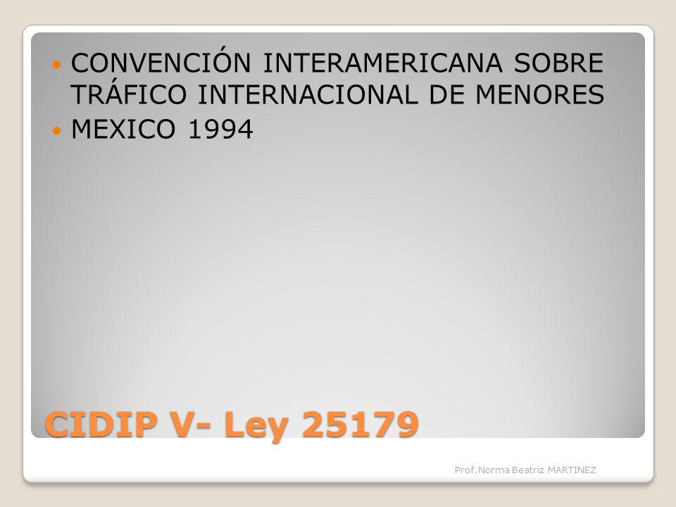 CIDIP V- Ley 25179 CONVENCIÓN INTERAMERICANA SOBRE TRÁFICO INTERNACIONAL DE MENORES MEXICO 1994 Prof.Norma Beatriz MARTINEZ