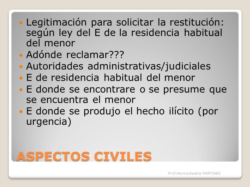 ASPECTOS CIVILES Legitimación para solicitar la restitución: según ley del E de la residencia habitual del menor Adónde reclamar??.