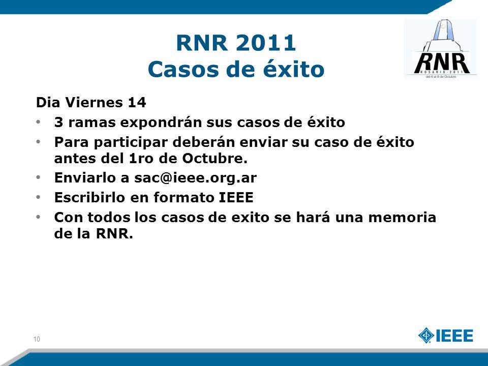 RNR 2011 Casos de éxito Dia Viernes 14 3 ramas expondrán sus casos de éxito Para participar deberán enviar su caso de éxito antes del 1ro de Octubre.