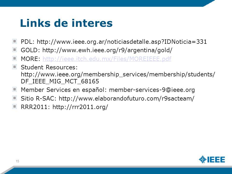 Links de interes PDL: http://www.ieee.org.ar/noticiasdetalle.asp IDNoticia=331 GOLD: http://www.ewh.ieee.org/r9/argentina/gold/ MORE: http://ieee.itch.edu.mx/Files/MOREIEEE.pdfhttp://ieee.itch.edu.mx/Files/MOREIEEE.pdf Student Resources: http://www.ieee.org/membership_services/membership/students/ DF_IEEE_MIG_MCT_68165 Member Services en español: member-services-9@ieee.org Sitio R-SAC: http://www.elaborandofuturo.com/r9sacteam/ RRR2011: http://rrr2011.org/ 15