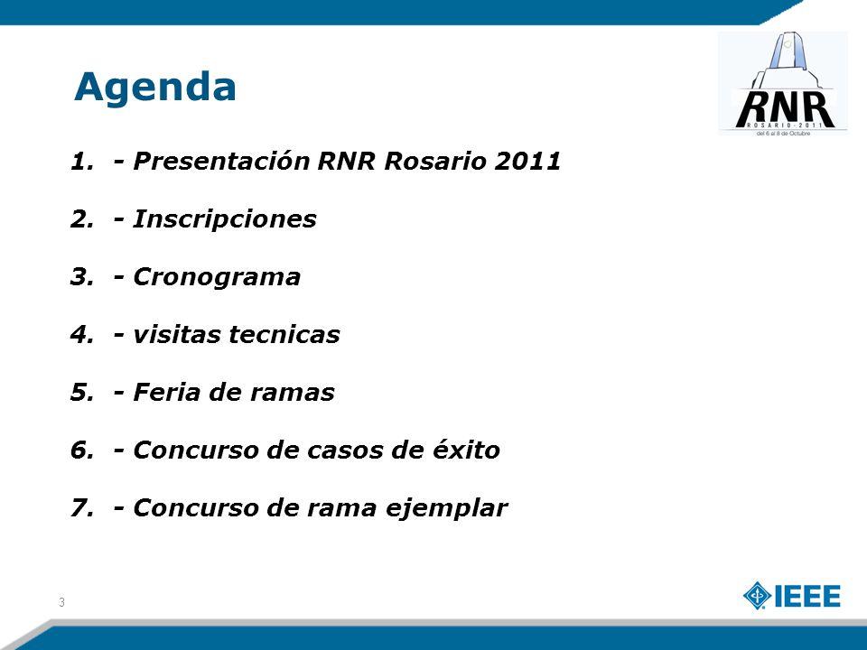 Agenda 1.- Presentación RNR Rosario 2011 2.- Inscripciones 3.- Cronograma 4.- visitas tecnicas 5.- Feria de ramas 6.- Concurso de casos de éxito 7.- Concurso de rama ejemplar 3