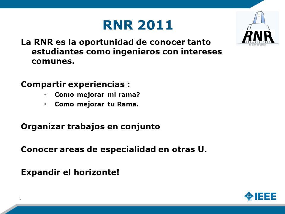 RNR 2011 La RNR es la oportunidad de conocer tanto estudiantes como ingenieros con intereses comunes. Compartir experiencias : Como mejorar mi rama? C