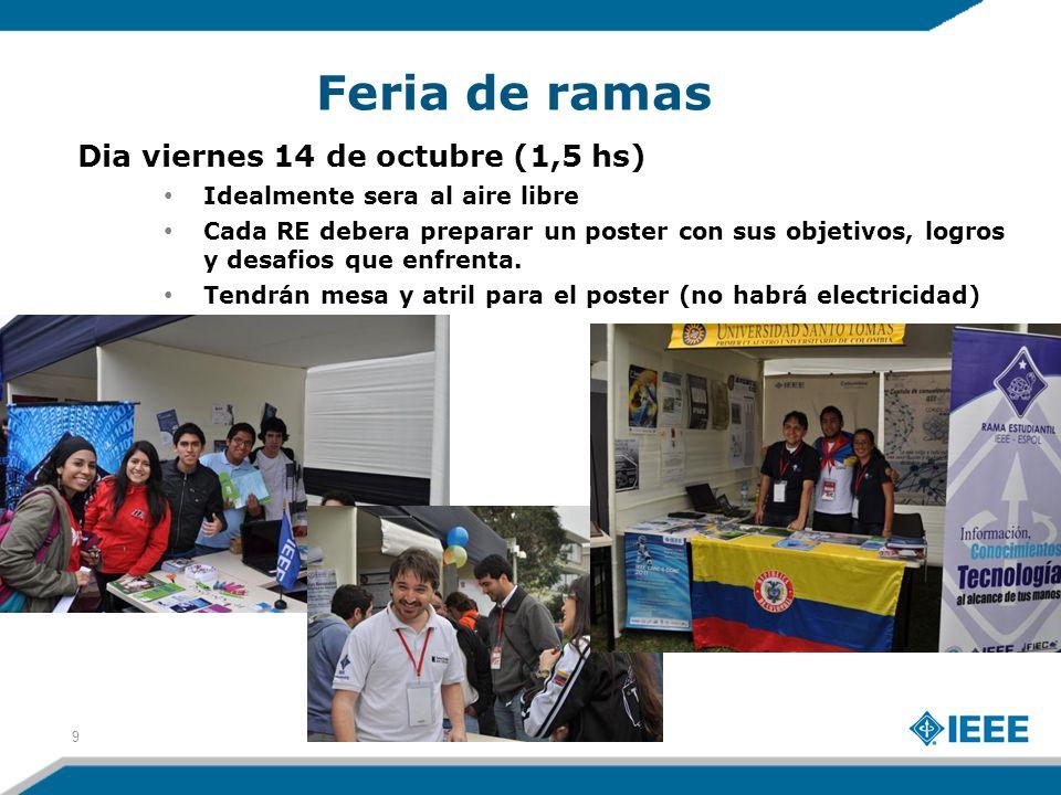 Feria de ramas 9 Dia viernes 14 de octubre (1,5 hs) Idealmente sera al aire libre Cada RE debera preparar un poster con sus objetivos, logros y desafios que enfrenta.