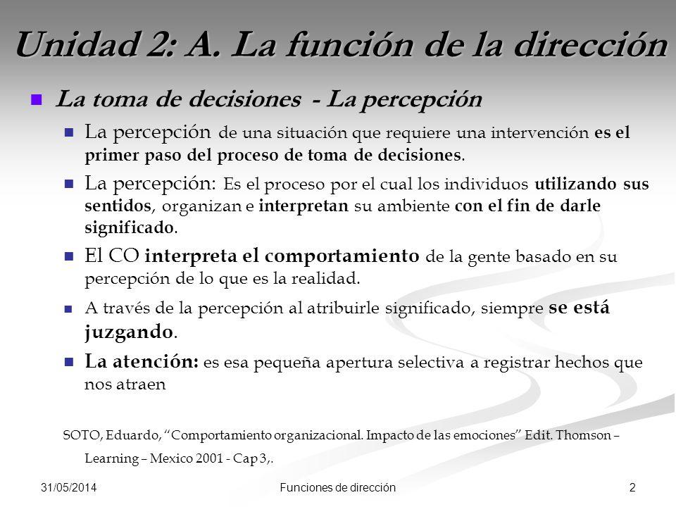 31/05/2014 2Funciones de dirección Unidad 2: A. La función de la dirección La toma de decisiones - La percepción La percepción de una situación que re