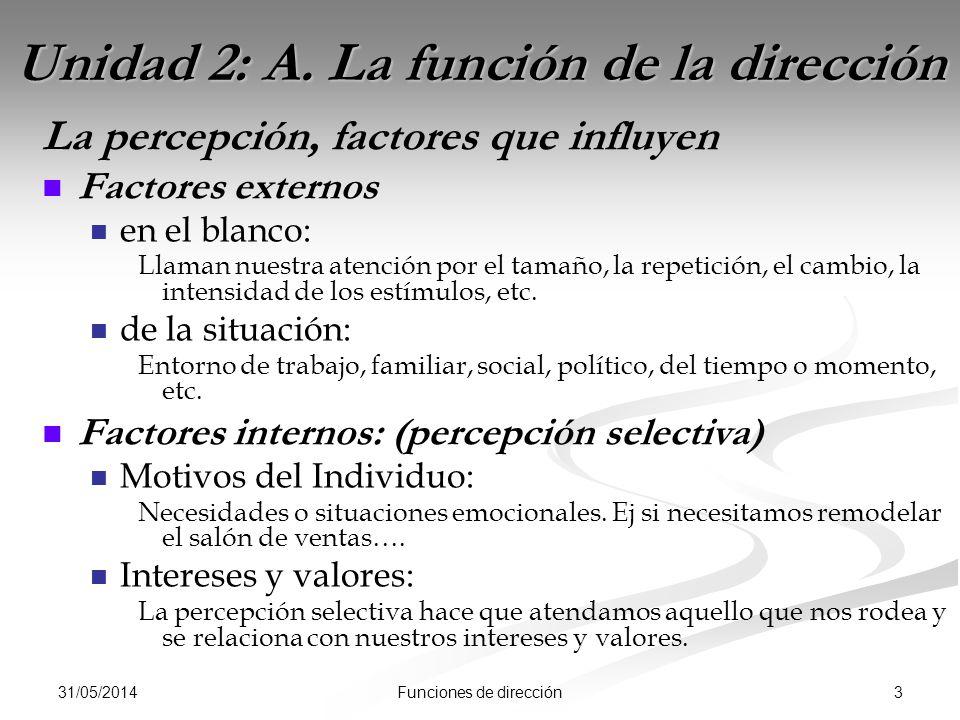 31/05/2014 3Funciones de dirección Unidad 2: A. La función de la dirección La percepción, factores que influyen Factores externos en el blanco: Llaman