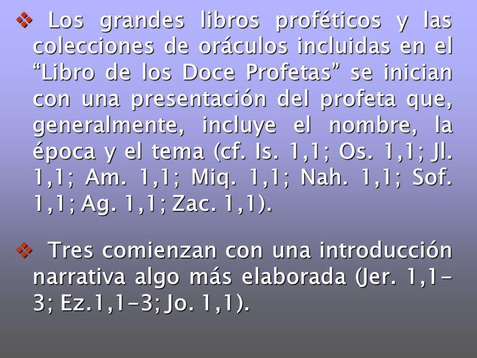 Los grandes libros proféticos y las colecciones de oráculos incluidas en el Libro de los Doce Profetas se inician con una presentación del profeta que
