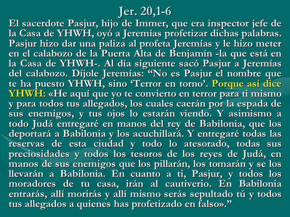 Jer. 20,1-6 El sacerdote Pasjur, hijo de Immer, que era inspector jefe de la Casa de YHWH, oyó a Jeremías profetizar dichas palabras. Pasjur hizo dar