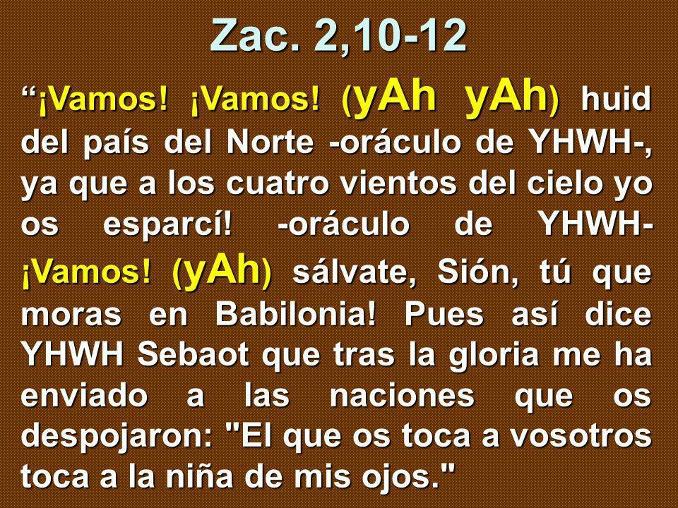 ¡Vamos! ¡Vamos! ( yAh yAh ) huid del país del Norte -oráculo de YHWH-, ya que a los cuatro vientos del cielo yo os esparcí! -oráculo de YHWH- ¡Vamos!